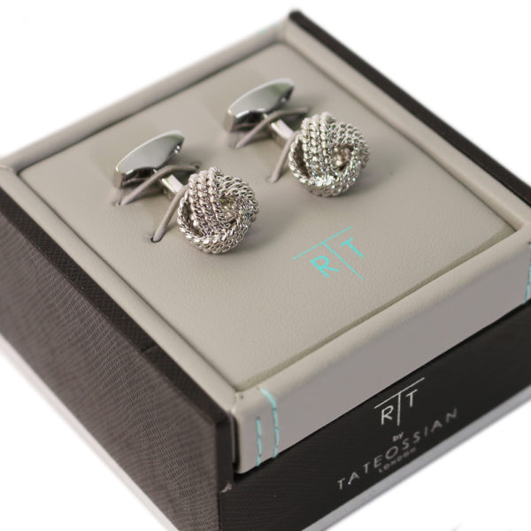 Knot cufflinks in case