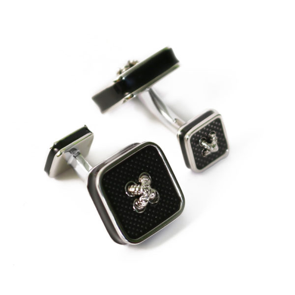 Rhodium and Enamel double ended Cufflinks