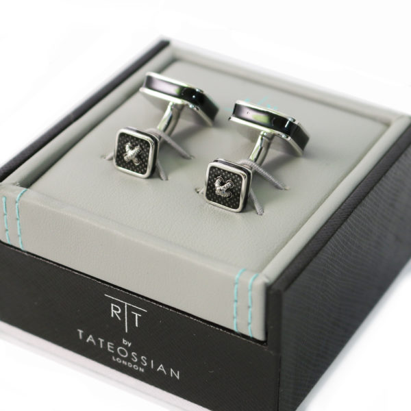 Rhodium and Enamel double ended Cufflinks back