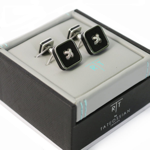 Rhodium and Enamel double ended Cufflinks in case
