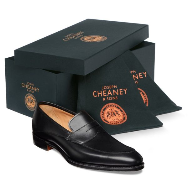 cheaney lewisham penny loafer in black calf leather p849 5841 image