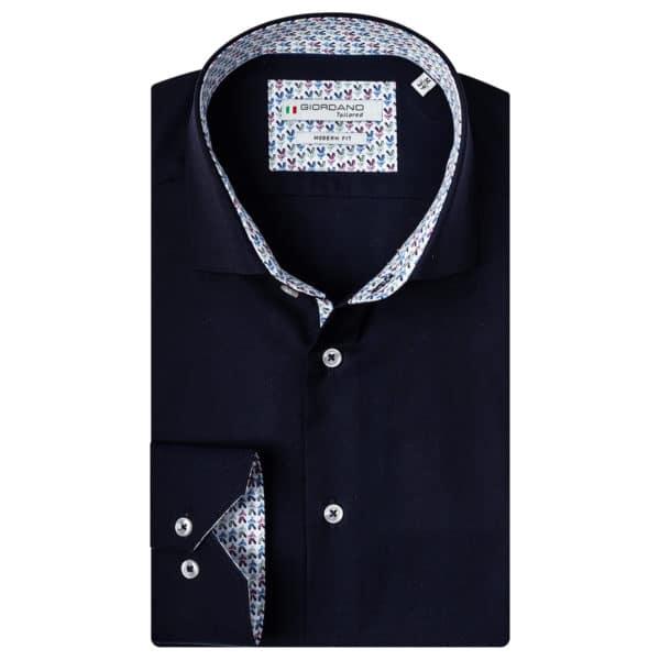 Giordano Baggio LS cutaway modern fit shirt navy