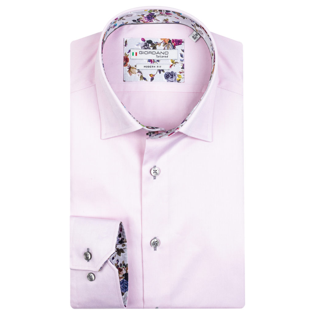 Giordano Brighton LS Under Modern Fit pink shirt