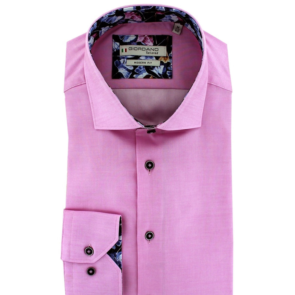 Giordano shirt Baggio LS Cutaway pink with flower pattern collar