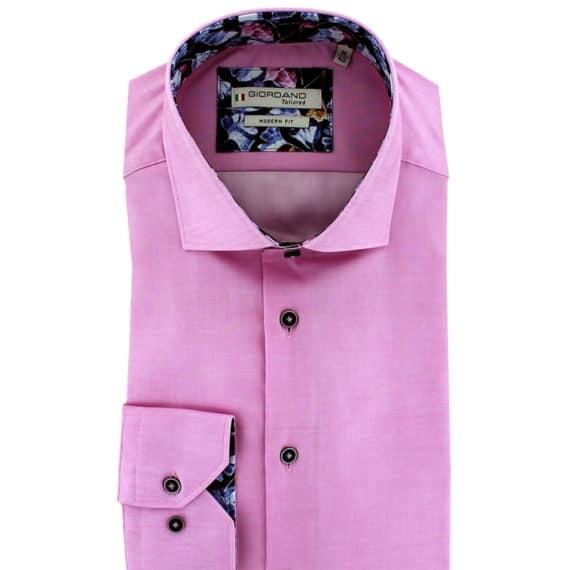 Giordano shirt Baggio LS Cutaway pink with flower pattern collar