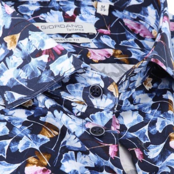 Giordano shirt Maggiore LS Cutaway Blue detail