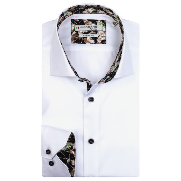 Giordano shirt Maggiore LS Cutaway white with flower pattern