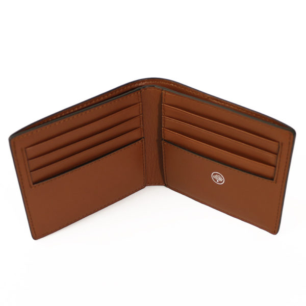 Grain Veg tanned 8 Card Wallet Oak open