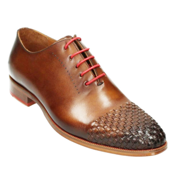MELIK red laces BRAIDED TOE TAN LEATHER SHOE