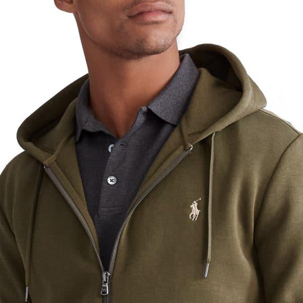 Ralph Lauren zip up green hoodie detail