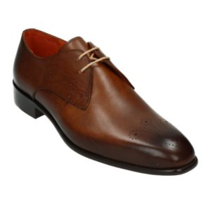Melik perforated tan leather shoe