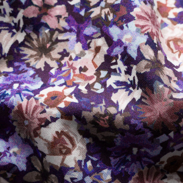 Blue Floral Twill Shirt fabric pink