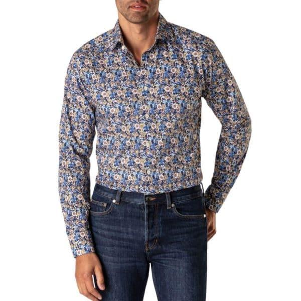 Eton Blue Floral Twill Shirt