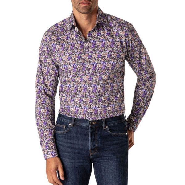 Eton Blue Floral Twill Shirt blue pink