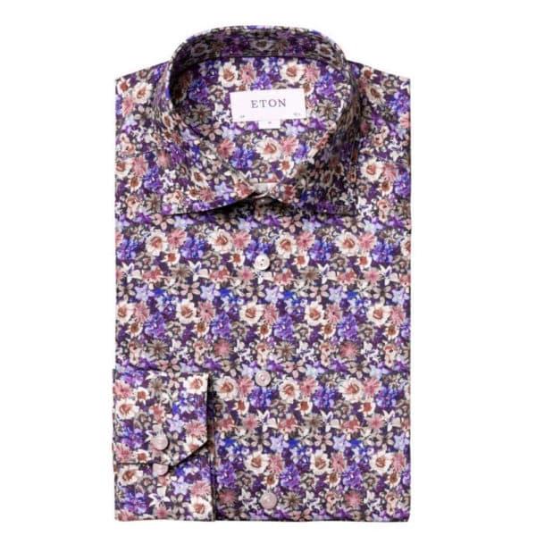 Eton Floral Shirt blue and pink