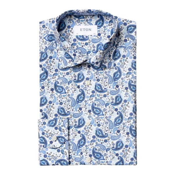 Eton Shirt with paisley print detail