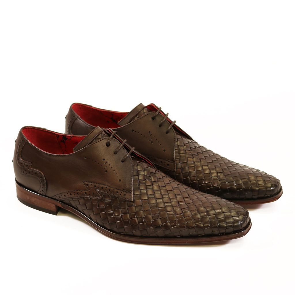 Jeffery West Mens Woven Leather Wing Tip Scarface Shoes Brown2 1