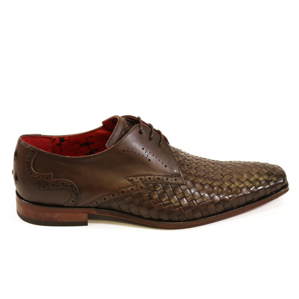 Jeffery West Mens Woven Leather Wing Tip Scarface Shoes Brown4 1