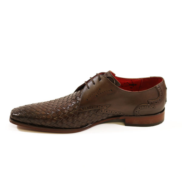 Jeffery West Mens Woven Leather Wing Tip Scarface Shoes Brown5 1