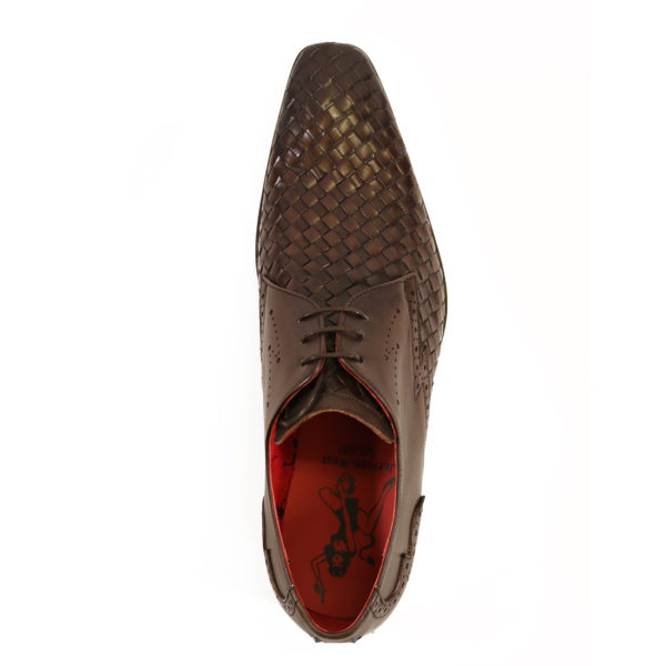 Jeffery West Mens Woven Leather Wing Tip Scarface Shoes Brown7