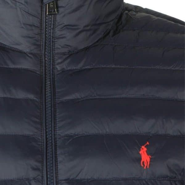 Navy padded jacket detail