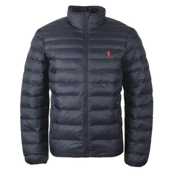 Navy padded jacket front