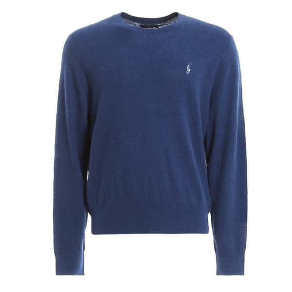Polo Ralph Lauren Blue Stitch Knit Linen Blend Crew Neck jumper 1