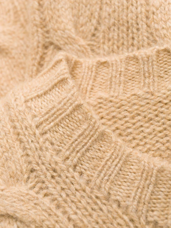 Polo Ralph Lauren Brown Wool and Cashmere cable knit jumper neck detail