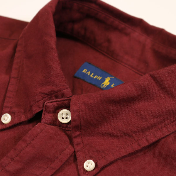 Polo Ralph Lauren Burgundy button down shirt collar