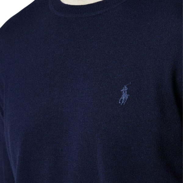 Polo Ralph Lauren Hunter Navy Merino Wool Jumper detail
