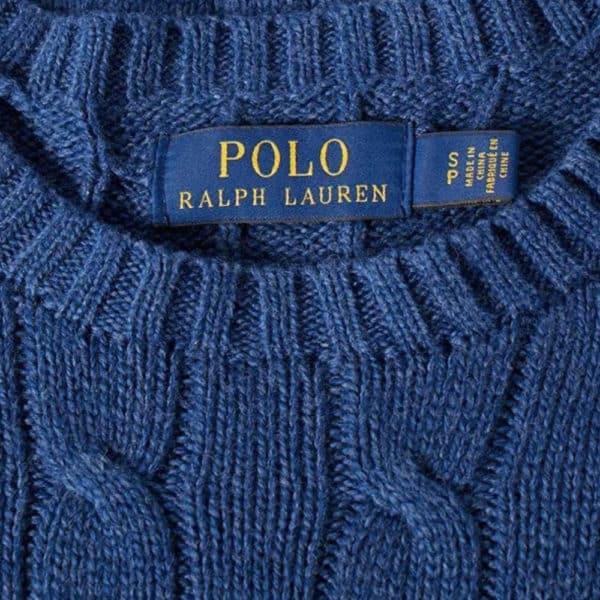 Polo Ralph Lauren Hunter Navy Wool Crew Neck jumper neck