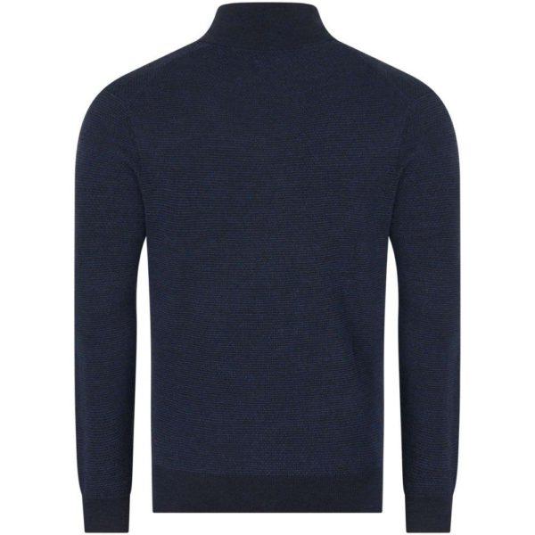 Polo Ralph Lauren Textured half zip navy knit front back
