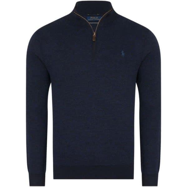 Polo Ralph Lauren Textured half zip navy knit front front