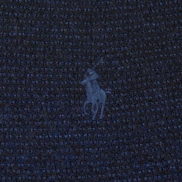 Polo Ralph Lauren Textured half zip navy knit front pony