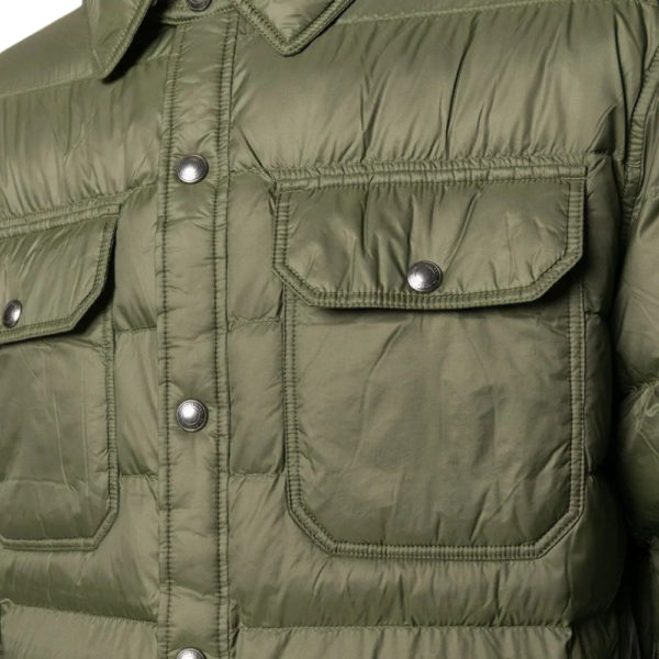 Weather resistant shell with soft down padding alongside detail