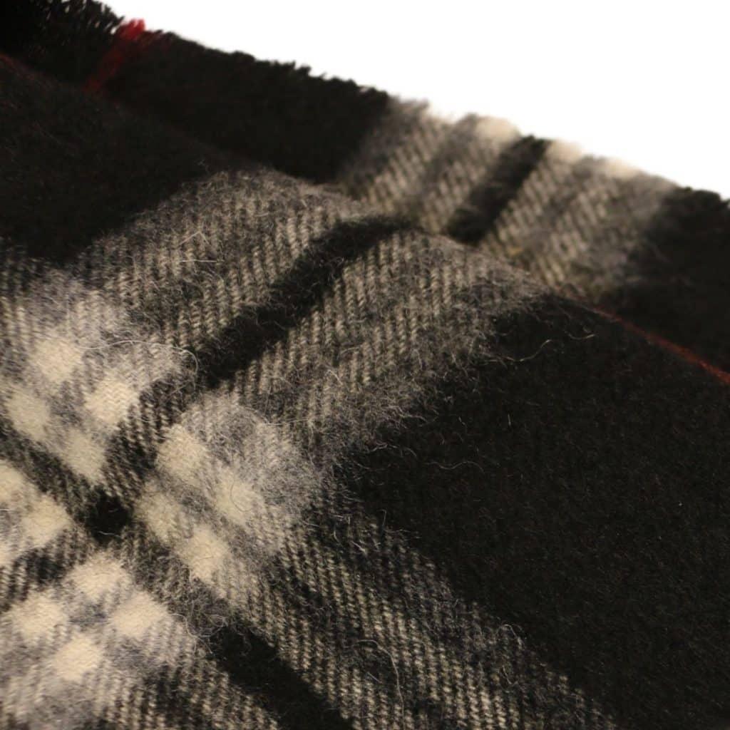 amanda christensen scarf dark tartan with red stripes detail