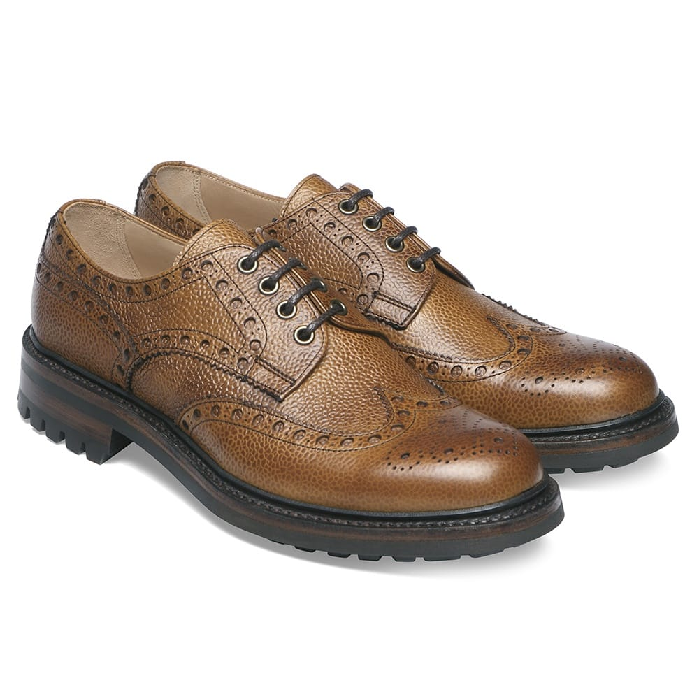 cheaney avon c wingcap derby brogue in almond grain leather p70 1421 image
