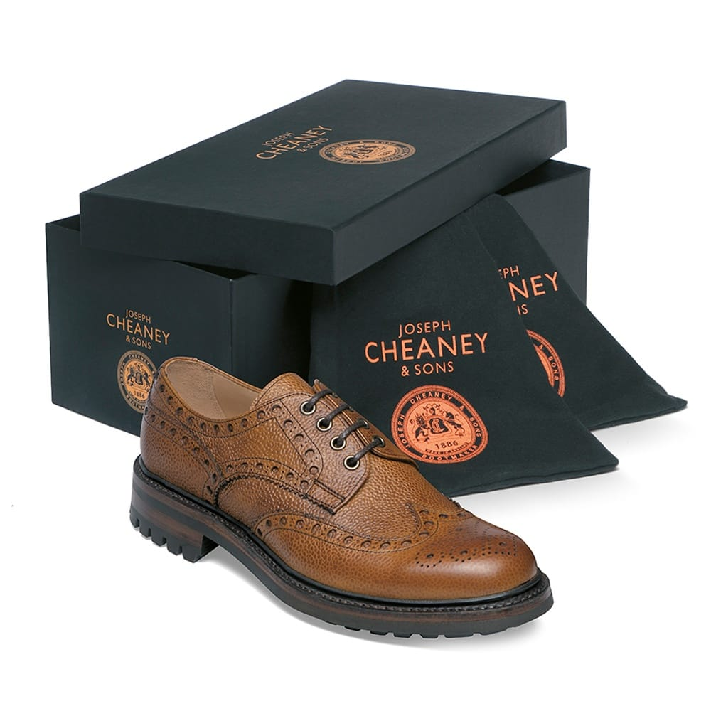 cheaney avon c wingcap derby brogue in almond grain leather p70 1423 image