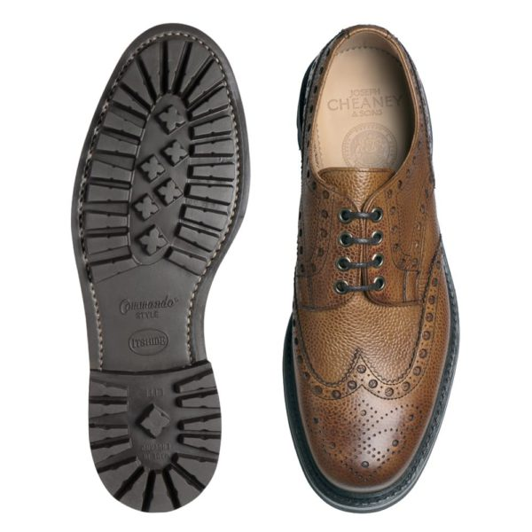 cheaney avon c wingcap derby brogue in almond grain leather p70 2001 image