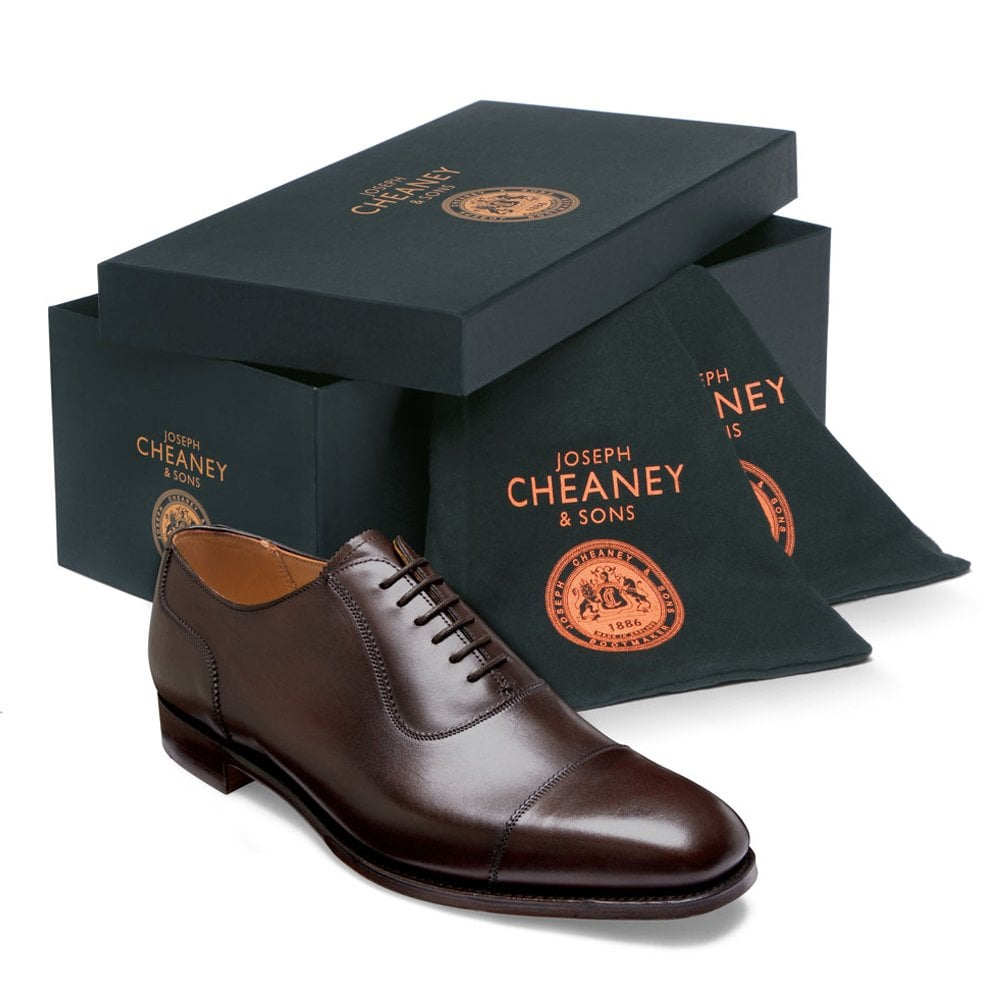 cheaney brackley oxford in burnished mocha calf leather p497 6301 image
