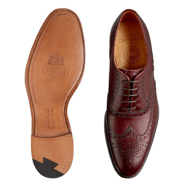 cheaney broad ii oxford wingcap brogue in burgundy calf leather p661 4723 image