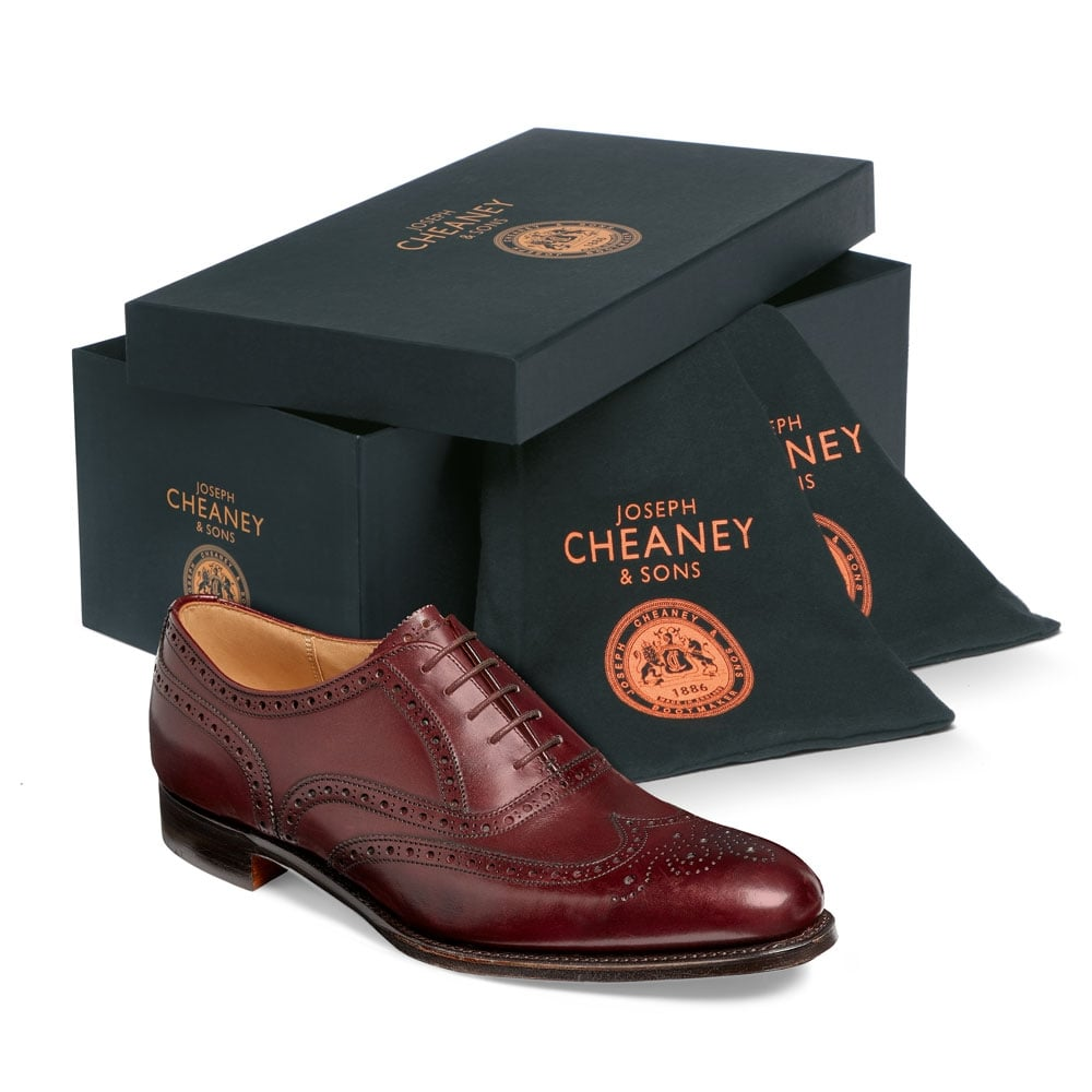 cheaney broad ii oxford wingcap brogue in burgundy calf leather p661 4724 image