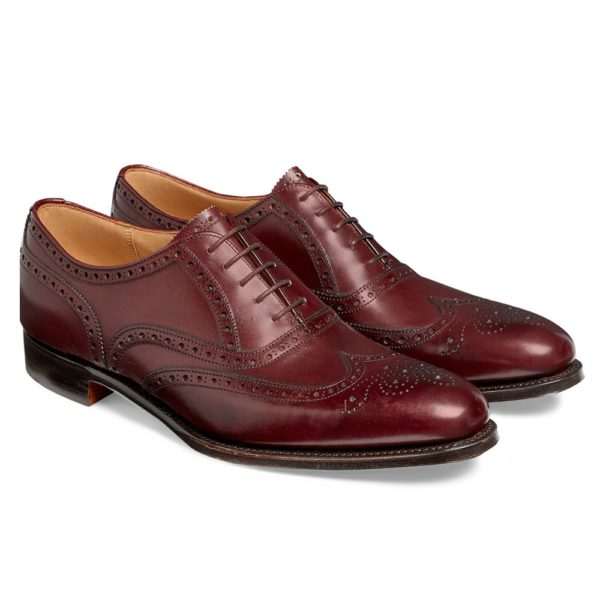 cheaney broad ii oxford wingcap brogue in burgundy calf leather p661 4983 image