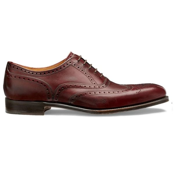 cheaney broad ii oxford wingcap brogue in burgundy calf leather p661 5689 image