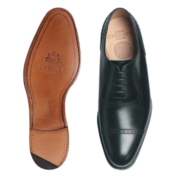 cheaney fenchurch oxford in black calf leather leather sole p32 1268 image
