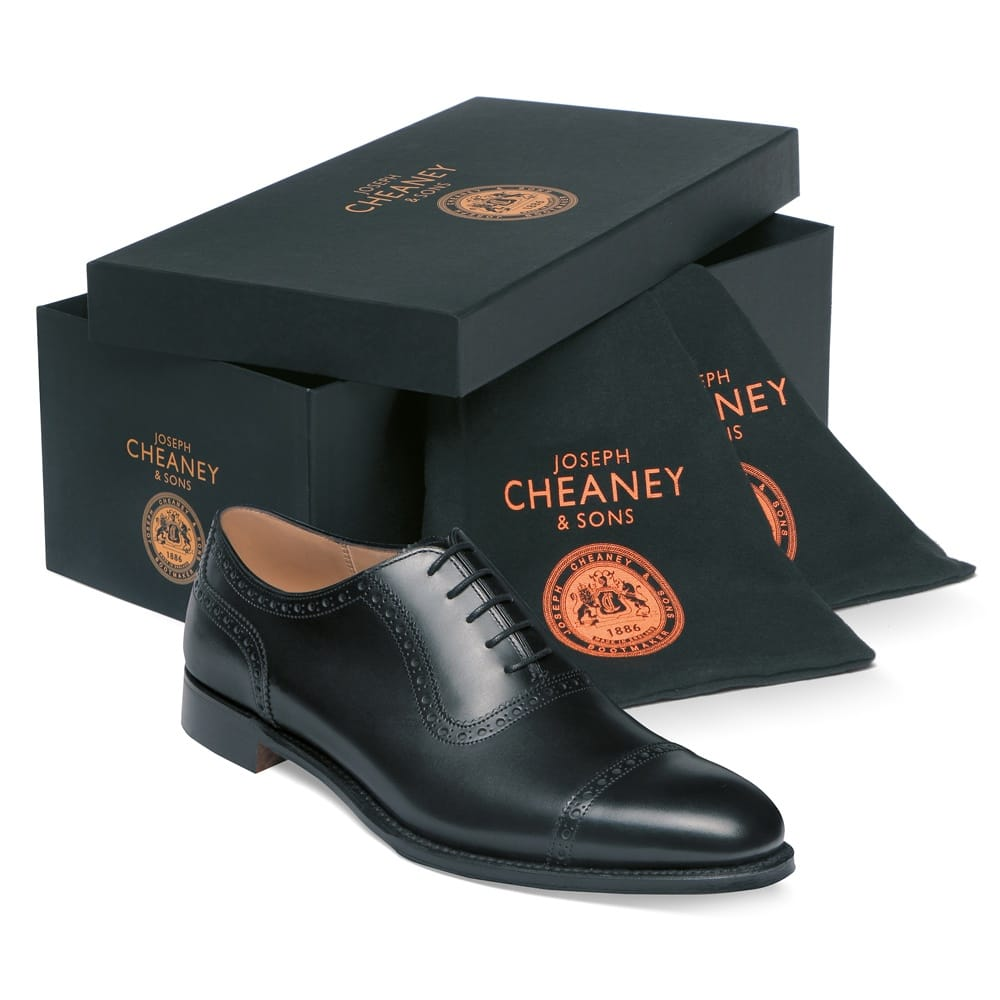 cheaney fenchurch oxford in black calf leather leather sole p32 1269 image