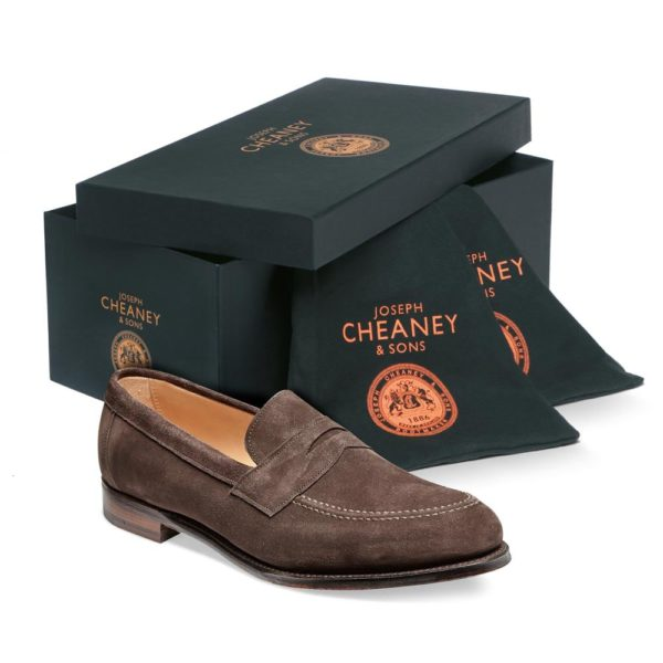 cheaney hadley penny loafer in brown suede p551 4266 image