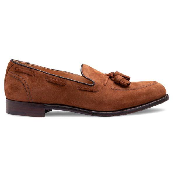 cheaney harry ii tassel loafer in fox suede p928 6422 zoom