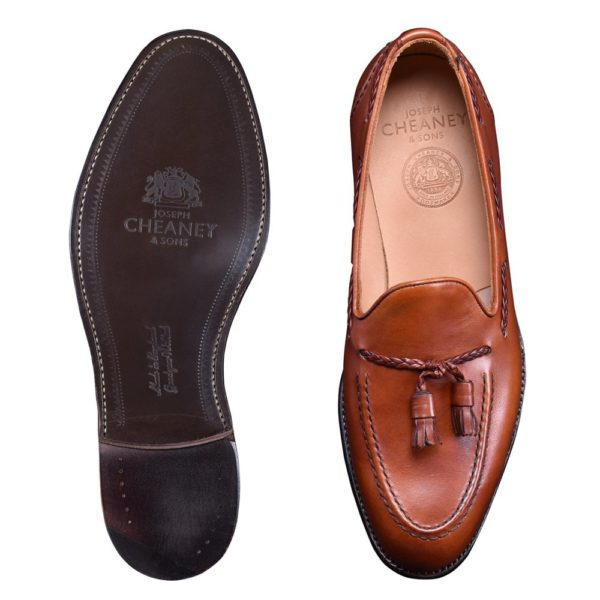 cheaney hugh ii tassel loafer in dark leaf calf leather p821 5645 image