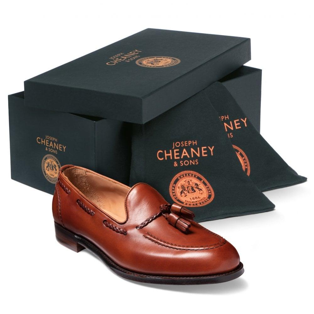 cheaney hugh ii tassel loafer in dark leaf calf leather p821 5646 image